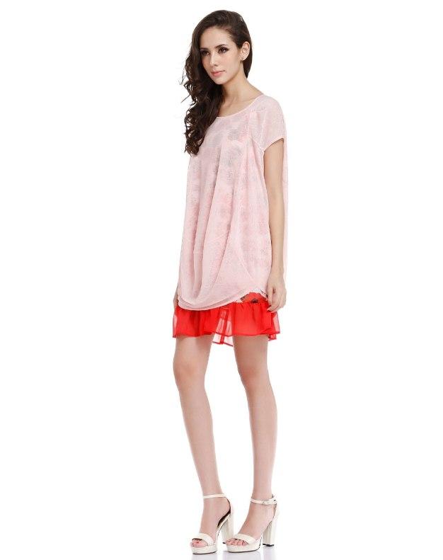 레드 반팔 티셔츠 여성 드레스