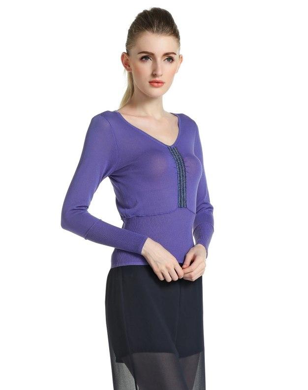 블루 단색의 긴소매 슬림핏 여성 니트