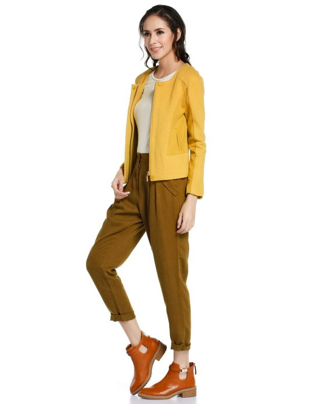 Yellow Collarless Long Sleeve Women's Outerwear