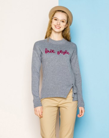 Gray Round Neck Long Sleeve Fitted Women's Sweater