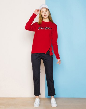 Red Round Neck Long Sleeve Fitted Women's Sweater