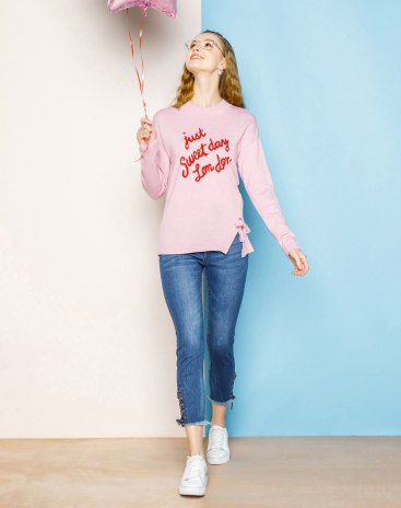 Pink Round Neck Long Sleeve Fitted Women's Sweater