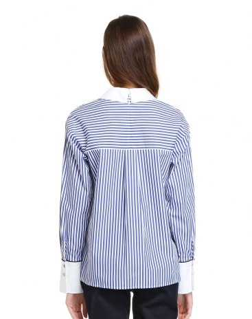 Stripes Stand Collar Single Breasted Long Sleeve Women's Shirt