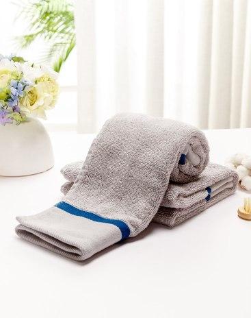 Gray Long-Staple Cotton Slight Twisting Satin Bath Towel