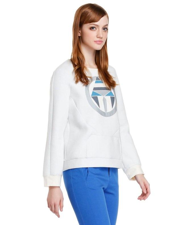 White Round Neck Long Sleeve Women's Sweatshirt