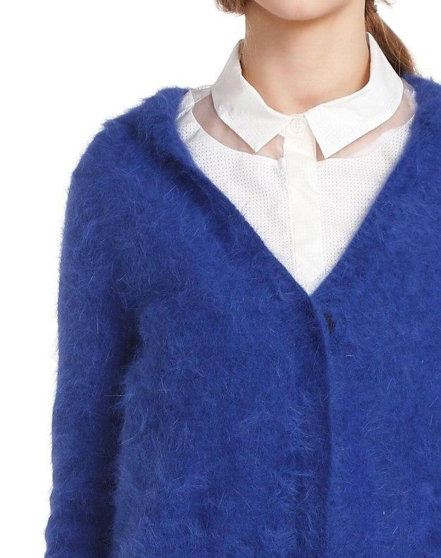 Blue Collarless Single Breasted Long Sleeve Women's Knitwear