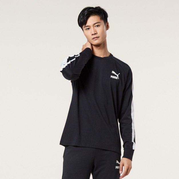 블랙 긴소매 표준 남성 티셔츠