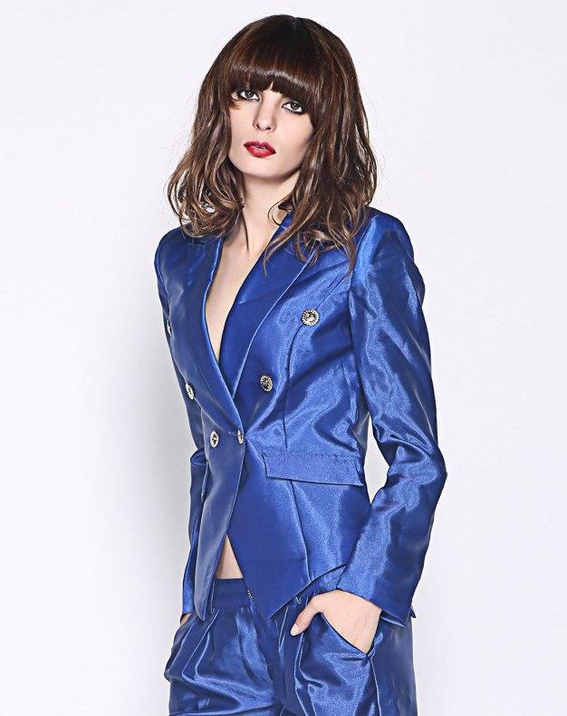 블루 단색의 싱글 버튼 긴소매 표준 여성 아우터