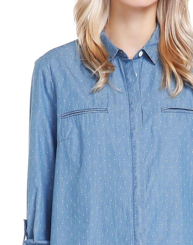 Blue Floral Lapel Long Sleeve Standard Women's Shirt