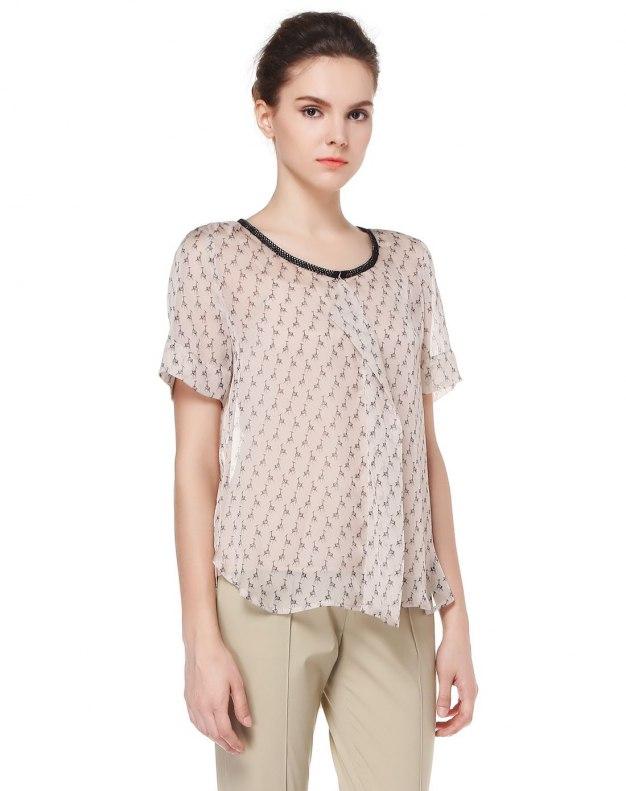 살구색 반팔 슬랙스 여성 티셔츠