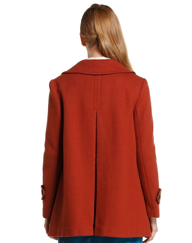 Red Lapel Double Breasted Long Sleeve Women's Outerwear