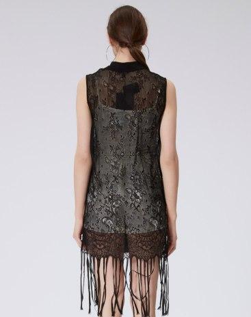 Black Plain Lapel Sleeveless Standard Women's T-Shirt