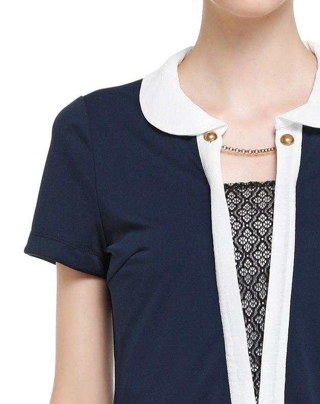 청색 단색의 반팔 티셔츠 슬림핏 여성 니트