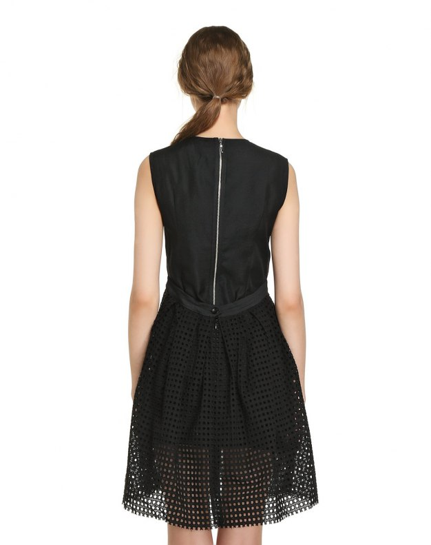 Black Scoop Neck Sleeveless Standard Women's Dress