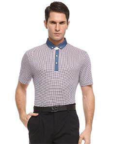 Red Plain Lapel Short Sleeve Standard Men's T-Shirt