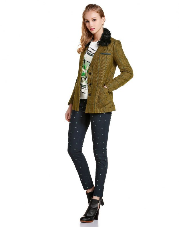 Yellow Double Breasted Long Sleeve Standard Women's Outerwear