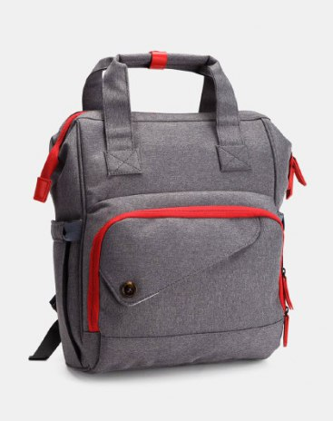 Gray Backpack for New Mother