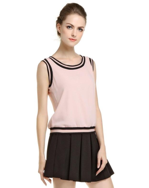 핑크 단색의 민소매 스트레이트 핏 여성 티셔츠