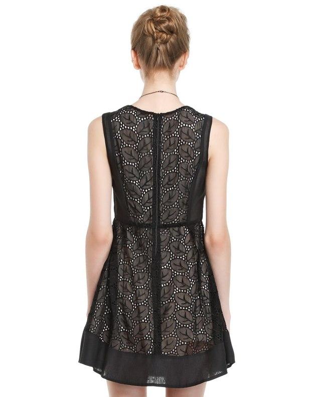 블랙 민소매 A라인 여성 드레스