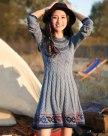 그레이 긴소매 A라인 여성 드레스