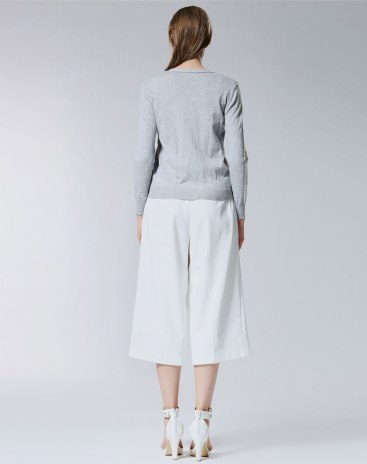 Gray Plain V Neck Single Breasted Long Sleeve Women's Knitwear