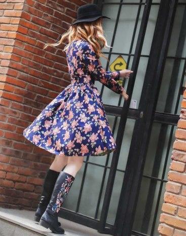 멀티컬러 긴소매 A라인 스커트 여성 드레스
