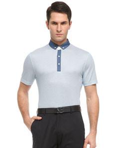 Blue Plain Lapel Short Sleeve Standard Men's T-Shirt
