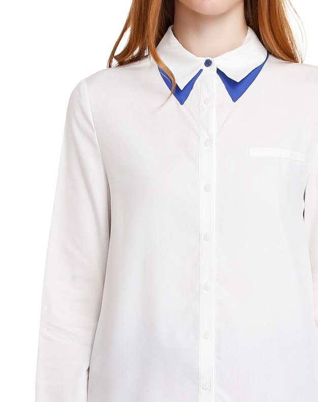 White Double Layers Single Breasted Long Sleeve Women's Shirt
