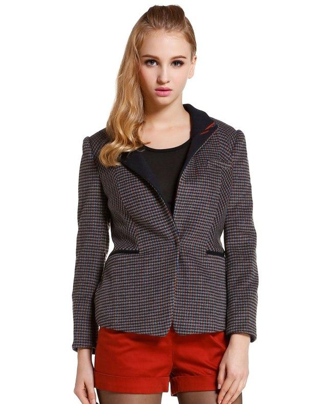 Gray Lapel One Botton Long Sleeve Women's Suit & Blazers