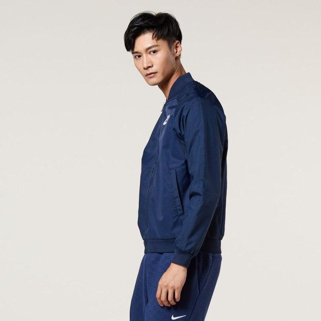 청색 긴소매 표준 남성 코트