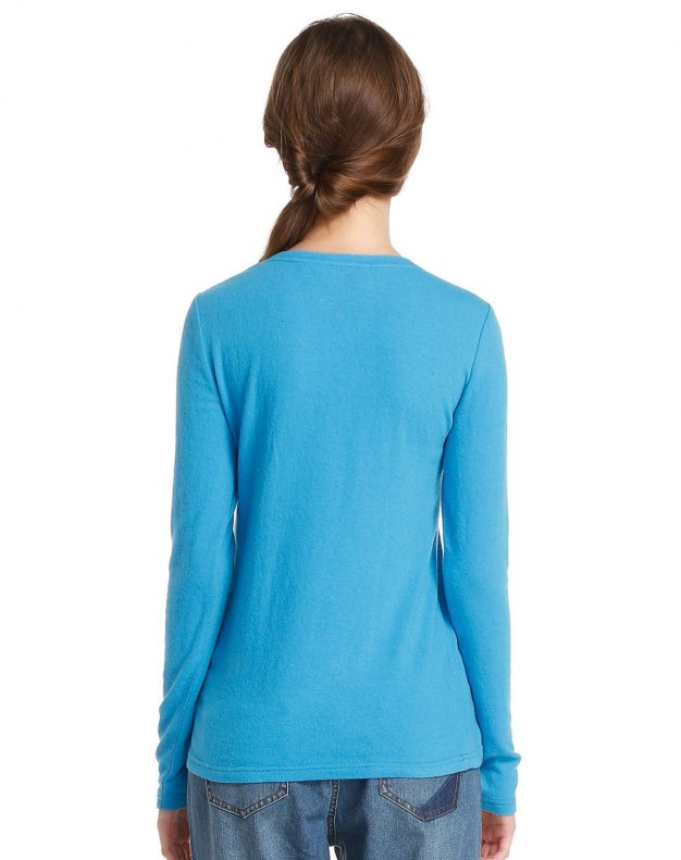 Blue Print Round Neck Long Sleeve Standard Women's T-Shirt