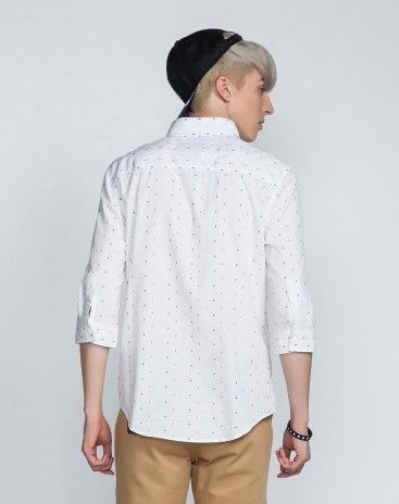 White 3/4 Sleeve Standard Lapel Men's Shirt