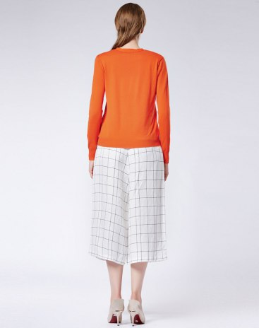 Yellow Plain V Neck Long Sleeve Women's Knitwear