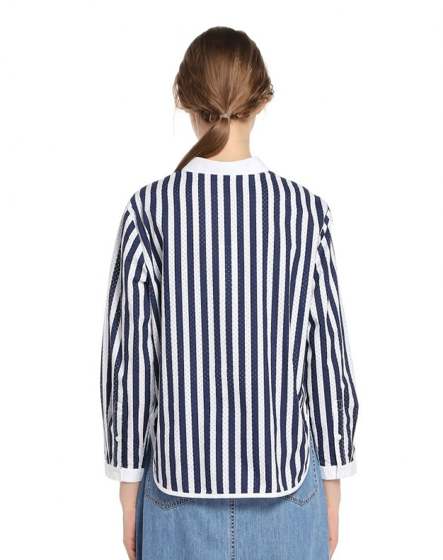 White Lapel Single Breasted Long Sleeve Standard Women's Shirt