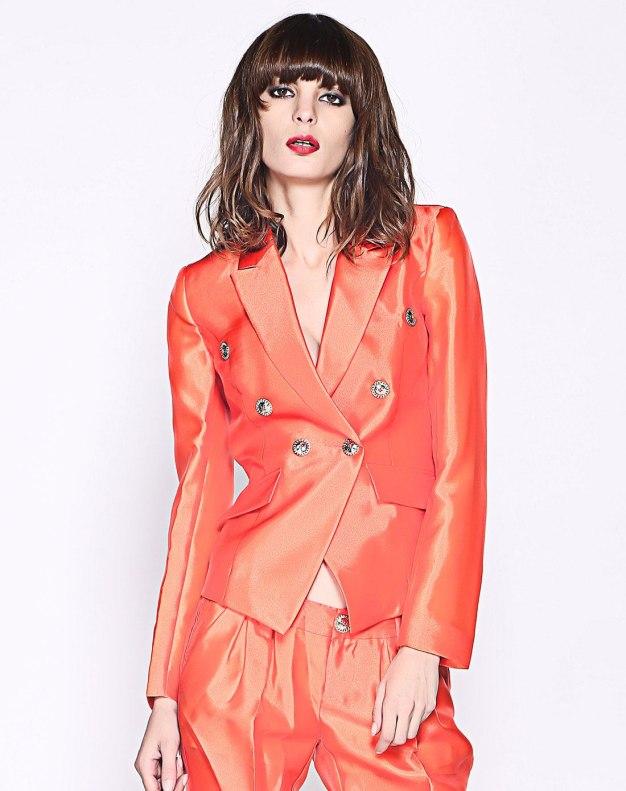주황색 단색의 싱글 버튼 긴소매 표준 여성 아우터