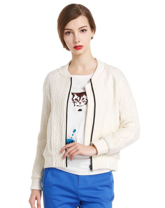 White Round Neck Long Sleeve Women's Outerwear