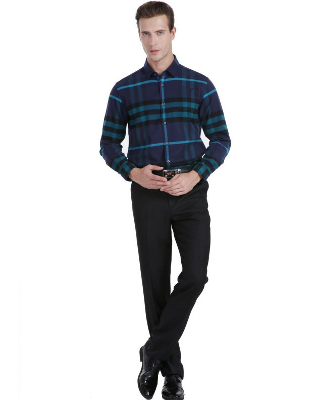 Blue Stripes Square Neck Long Sleeve Fitted Men's Shirt