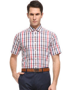 Red Pointed Collar Short Sleeve Men's Shirt