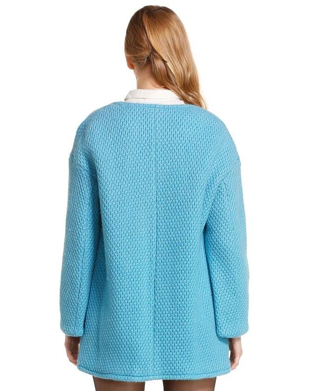 Blue Round Neck One Botton Long Sleeve Women's Outerwear