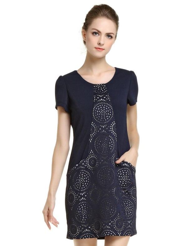 블루 반팔 티셔츠 랩스커트 여성 드레스