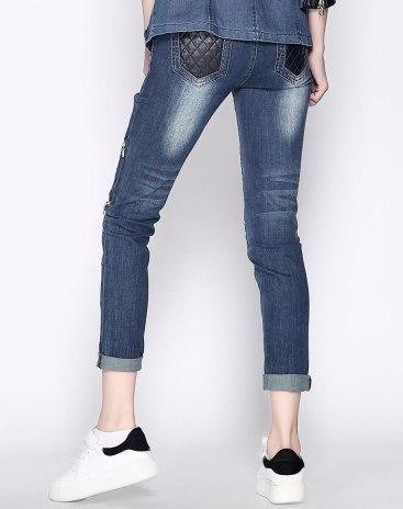 Blue Low Waist Paneled Women's Jeans