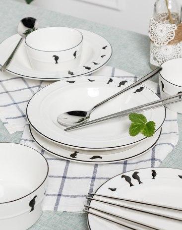 Underglaze Color 13-20 head Tableware Set Bowls & Plates