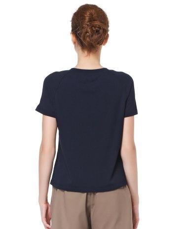 블루 단색의 반팔 티셔츠 슬림핏 여성 니트
