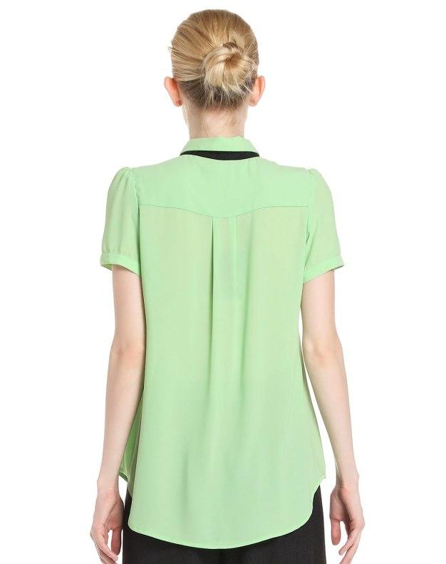 그린 단색의 반팔 티셔츠 스트레이트 핏 여성 블라우스