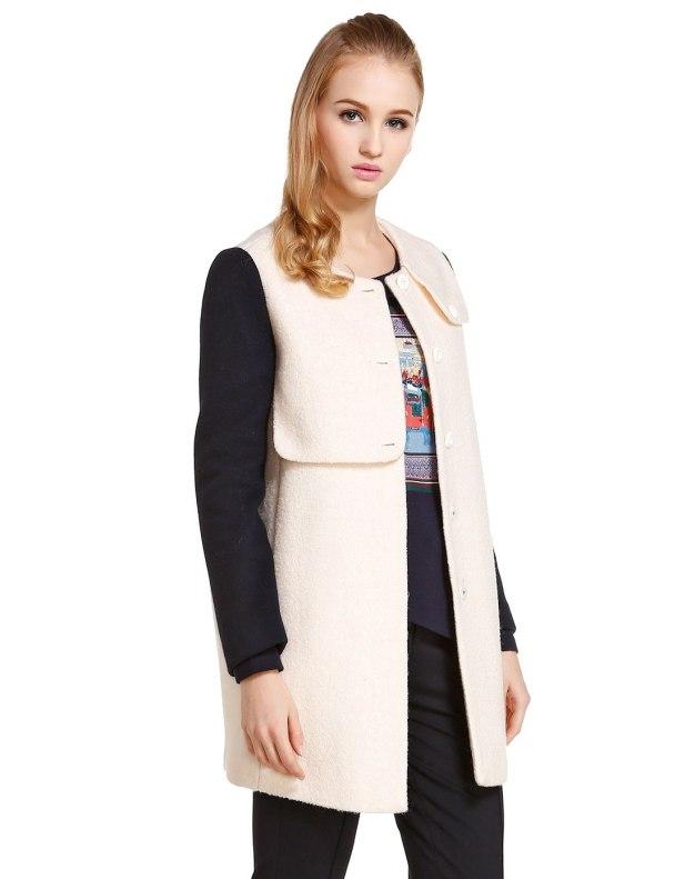 Peter Pan Collar Single Breasted Long Sleeve Women's Coat