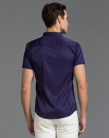 Plain Belt Collar Short Sleeve Fitted Men's Shirt
