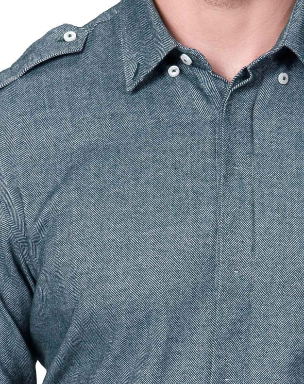 Plain Square Neck Long Sleeve Fitted Men's Shirt