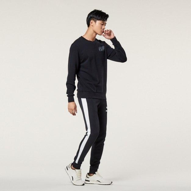 블랙 표준 남성 맨투맨티셔츠