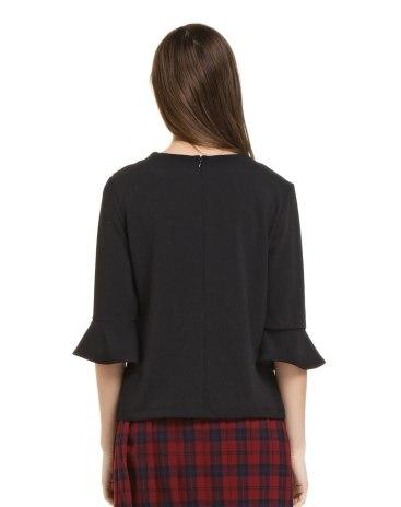 Black Plain Round Neck Half Sleeve Women's Shirt