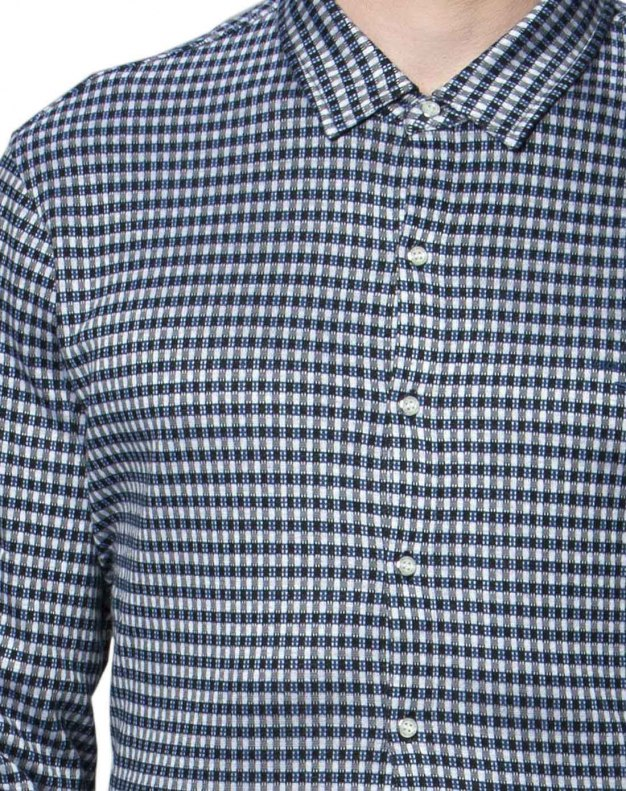 Blue Square Neck Long Sleeve Fitted Men's Shirt
